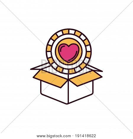 silhouette color sections coin with heart shape inside coming out of cardboard box vector illustration