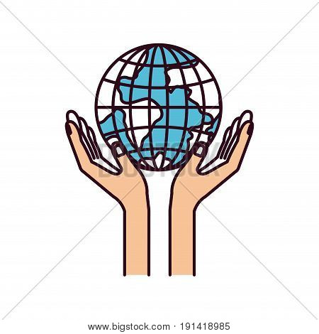 silhouette color sections hands with floating earth globe world charity symbol vector illustration