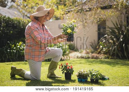 Smiling senior woman holding plant while kneeling on field in yard