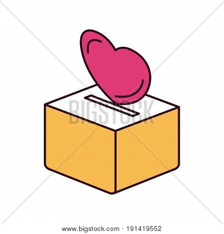 silhouette color sections flat heart depositing in a carton box vector illustration
