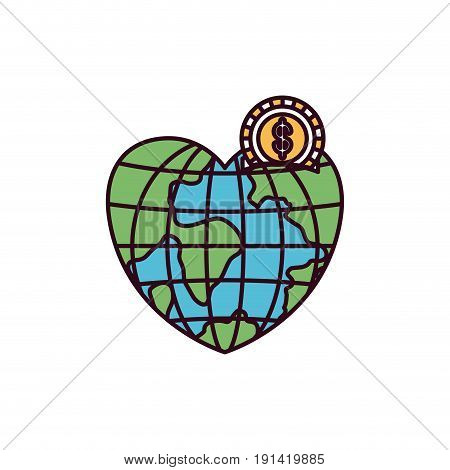 silhouette color sections money box in globe earth world in heart shape with coin with dollar symbol vector illustration