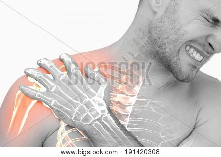 Digital composite of highlighted shoulder pain of man against white background