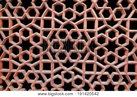 Texture of stone grating at Humayun's Tomb in New Delhi India
