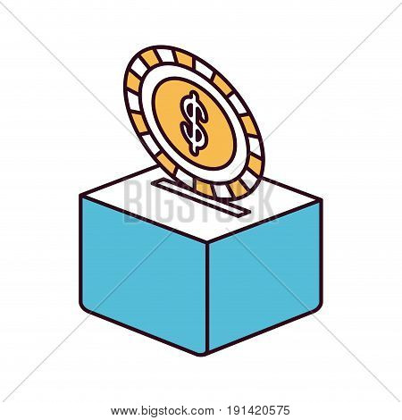 silhouette color sections flat coin with dollar symbol depositing in a carton box vector illustration