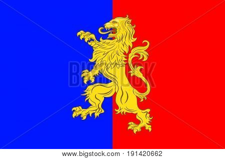 Flag of Bernay is a commune in the west of the Eure department in northern France. The city is in the Pays d'Ouche and the Lieuvin. Vector illustration
