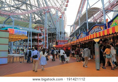 YOKOHAMA JAPAN - MAY 28, 2017: Unidentified people visit Cosmo World. Cosmo World is an amusement park located in Minato Mirai downtown area in Yokohama.