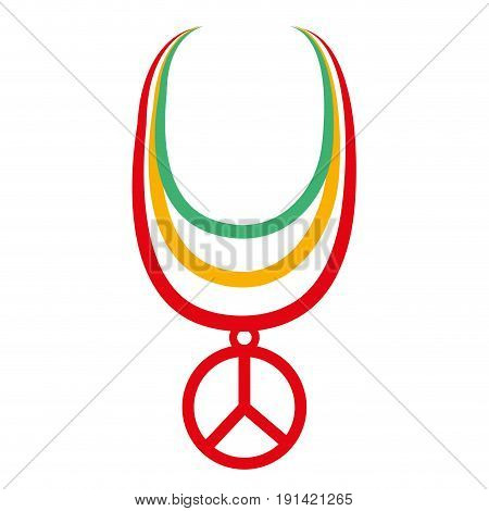 necklace with peace symbol isolated icon vector illustration design