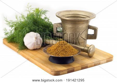 Composition Of Spices,seasonning For Pilaw , Dill, Garlic, Vintage Spice Grinder Isolated On White B