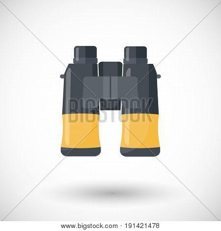 Binoculars icon Flat design of exploring equipment or birdwatching tool with round shadow vector illustration