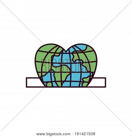 silhouette color sections closeup flat globe earth world in heart shape depositing in rectangular slot vector illustration
