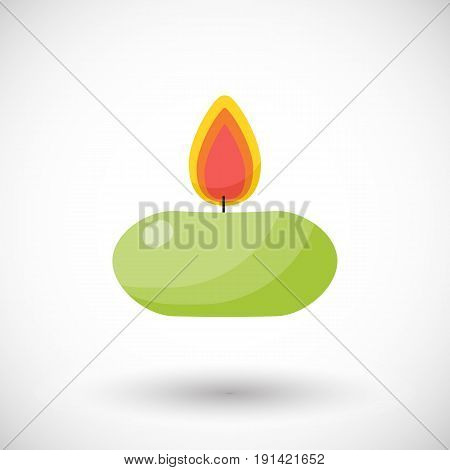 Burning candle vector flat icon Flat design of aromatherapy or romantic object with round shadow vector illustration