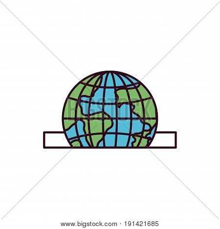 silhouette color sections closeup flat globe earth world depositing in rectangular slot vector illustration