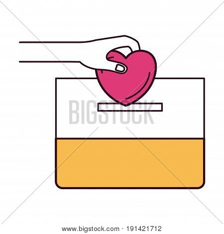 silhouette color sections front view hand with flat heart depositing in a carton box vector illustration