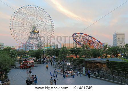 YOKOHAMA JAPAN - MAY 28, 2017: Unidentified people visit Cosmo World. Cosmo World is an amusement park located in Minato Mirai downtown area in Yokohama.