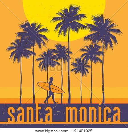 California coast Santa Monica beach surfer poster. Vector illustration
