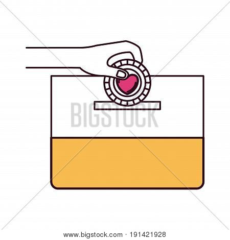 silhouette color sections front view hand with flat coin with heart symbol inside depositing in a carton box vector illustration