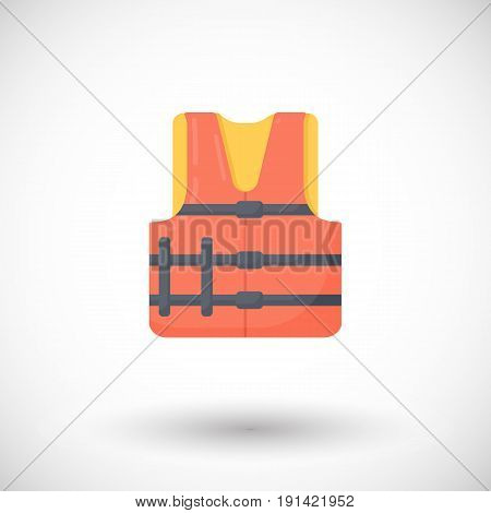 Life jacket vector flat icon Flat design of swimming safety with round shadow vector illustration