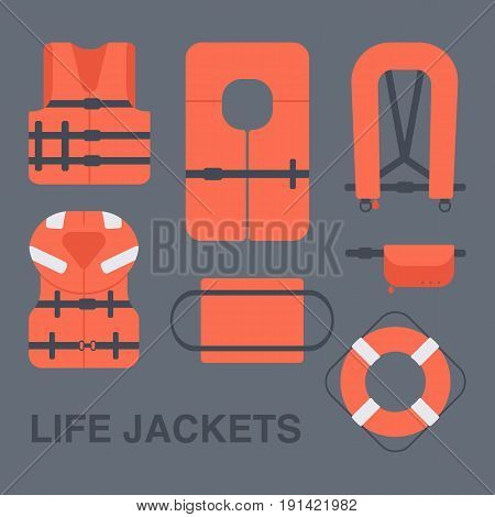 Life jackets types vector flat icons set Flat design of different types of floatation devices vector illustration