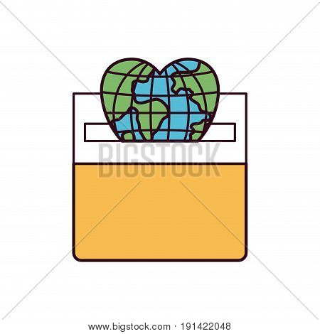 silhouette color sections front view flat globe earth world in heart shape depositing in a carton box vector illustration