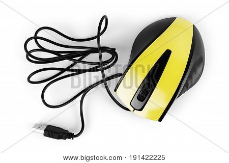 Yellow computer mouse on a white background
