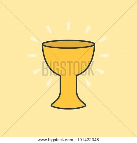 Holy grail color and outline icon, gold grail