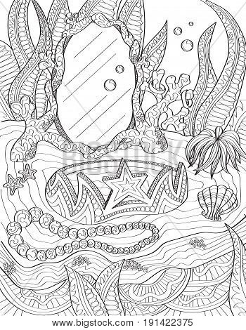 Coloring book page for adults of an underwater vanity.