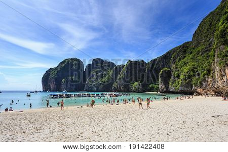 KRABI THAILAND - MAY 6 : An unidentified people relax at Maya bay in Krabi province southern of Thailand on May 6 2017. Maya bay is very popular place for tourist to visit.