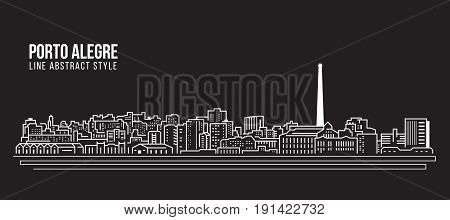 Cityscape Building Line art Vector Illustration design - Porto alegre city