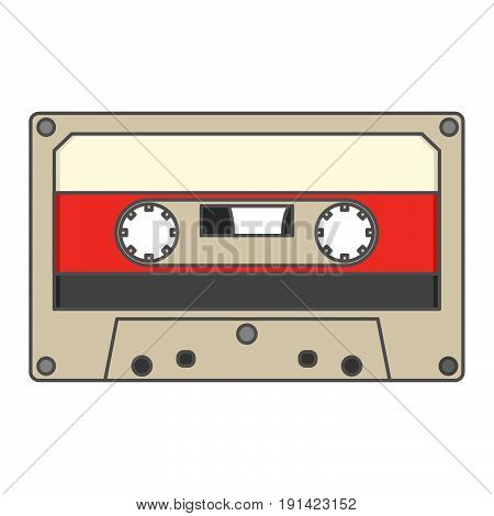 retro vintage audio cassette, flat music icon