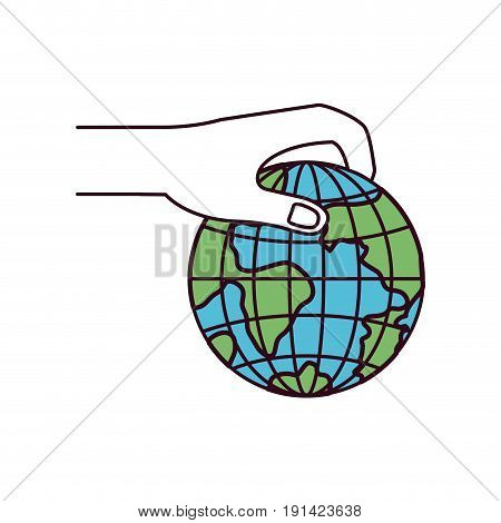silhouette color sections side view of hand holding a earth globe world charity symbol to deposit vector illustration