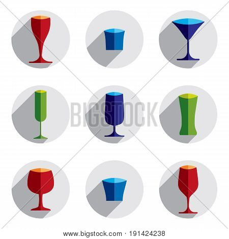 Decorative drinking glasses collection. Set of celebration goblets simple vector glassware can be used in graphic and web design.