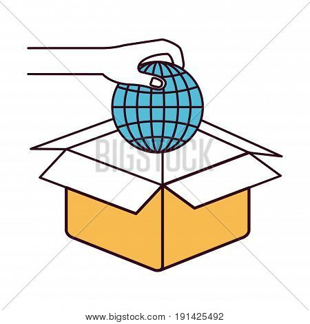 silhouette color sections hand holding a globe earth world chart to deposit in cardboard box vector illustration