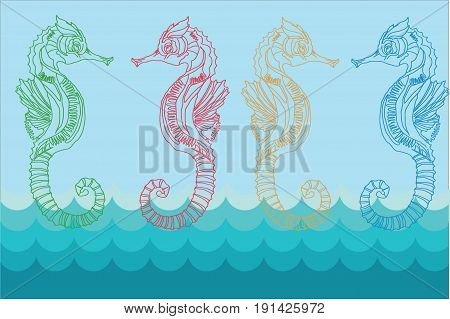 sea horses on blue background, picture on a wall