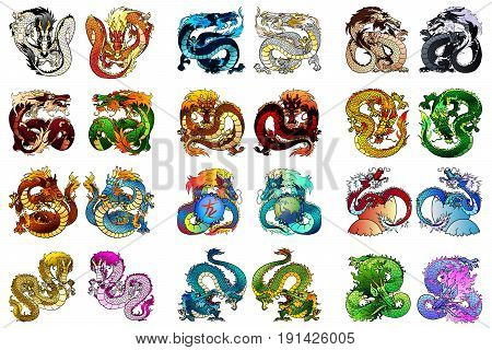 Big set of multi-colored Asian dragons of elements of fire, metal, earth, tree and water. Animals of the Chinese goroskov separately on white. Full-color cartoon vector illustration.