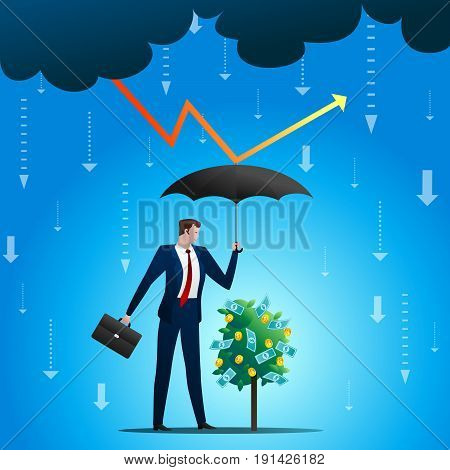 The businessman covers a monetary tree from a lightning and a rain. Successful protection of business and growth during crisis, a concept. Flat vector illustration.