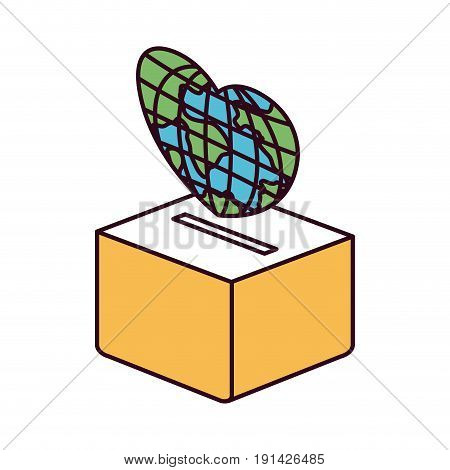 silhouette color sections side view a globe earth world in heart shape to deposit in cardboard box. vector illustration