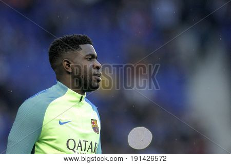 BARCELONA, SPAIN - APRIL, 29: Samuel Umtiti of FC Barcelona before a Spanish League match against RCD Espanyol at the RCDE Stadium on April 29 2017, in Barcelona Spain