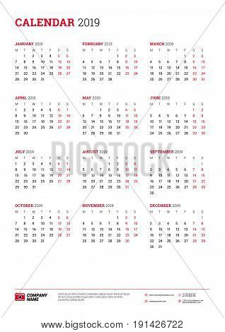 Vector calendar poster A3 size for 2019 Year. Week starts on Monday. Stationery design template