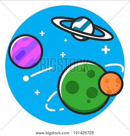 Planet space Icon illustration design graphic rasterized