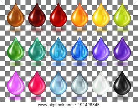 A big set of multi-colored translucent drops with a shadow on a transparent background. Drops of oil, juice, water, cosmetics. Realistic vector illustration.