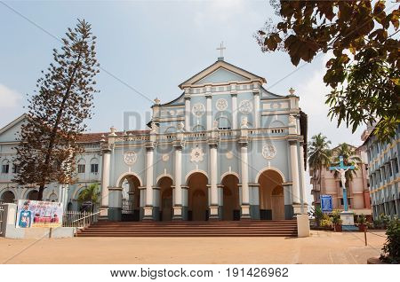 MANGALORE, INDIA - FEB 24, 2017: Building of St. Aloysius Chapel in old Rome style build in 1878 by Jesuits on February 24, 2017. With population of 500000 Mangalore is chief port city of Karnataka state