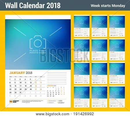 Wall calendar planner template for 2018 year. Set of 12 momths. Vector design print template with place for photo. Week starts on Monday