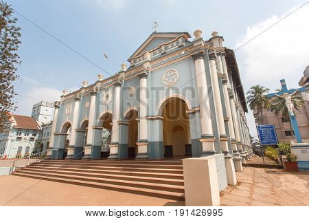 MANGALORE, INDIA - FEB 24, 2017: Front of St. Aloysius Chapel in old Rome style build in 1878 by Jesuits on February 24, 2017. With population of 500,000 Mangalore is chief port city of Karnataka state