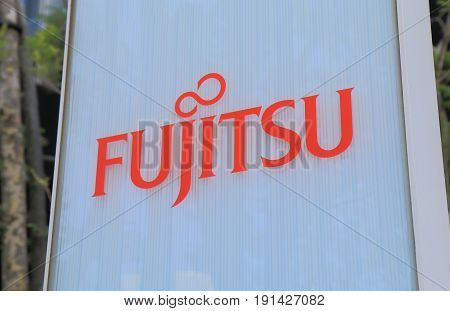 YOKOHAMA JAPAN - MAY 29, 2017: Fujitus. Fujitu is a Japanese multinational information technology equipment and services company headquartered in Tokyo Japan.