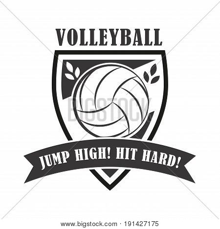 Volleyball coach badge, creative label whith net for players competing in sport game, athletes and coaches motto, t-shirt badge for fan zone or volunteers, vector illustration