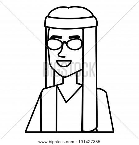 man with headband character hippy lifestyle vector illustration design
