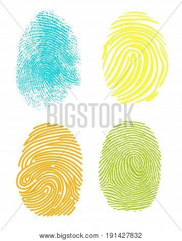 Realistic fingerprint isolated on a white background. Fingerprint icon. Black fingerprint.