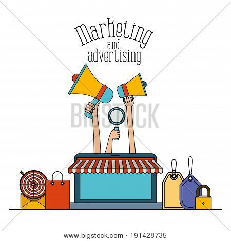 white background set colorful online sales with laptop and strategy elements marketing and adversiting vector illustration
