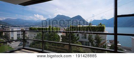 Beautiful view of Lugano Lake from balcony