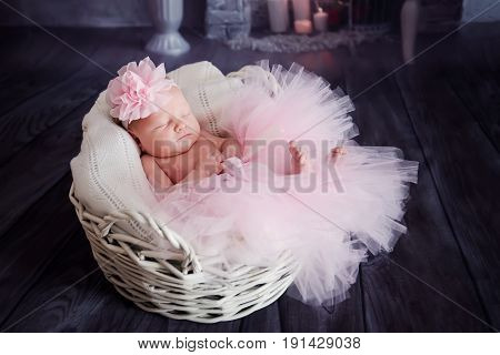 Beautiful cute little girl sleeping in a basket